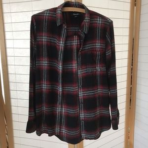 Madewell Size Small flannel black red shadow plaid
